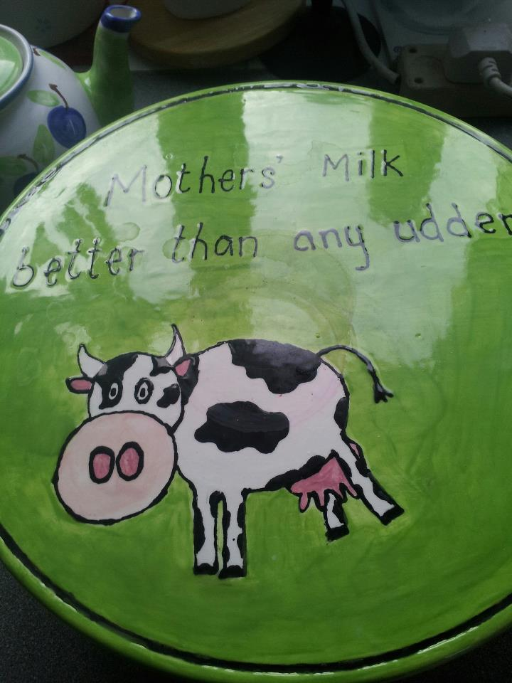 picture of dish with writing mother's milk is better than any udder