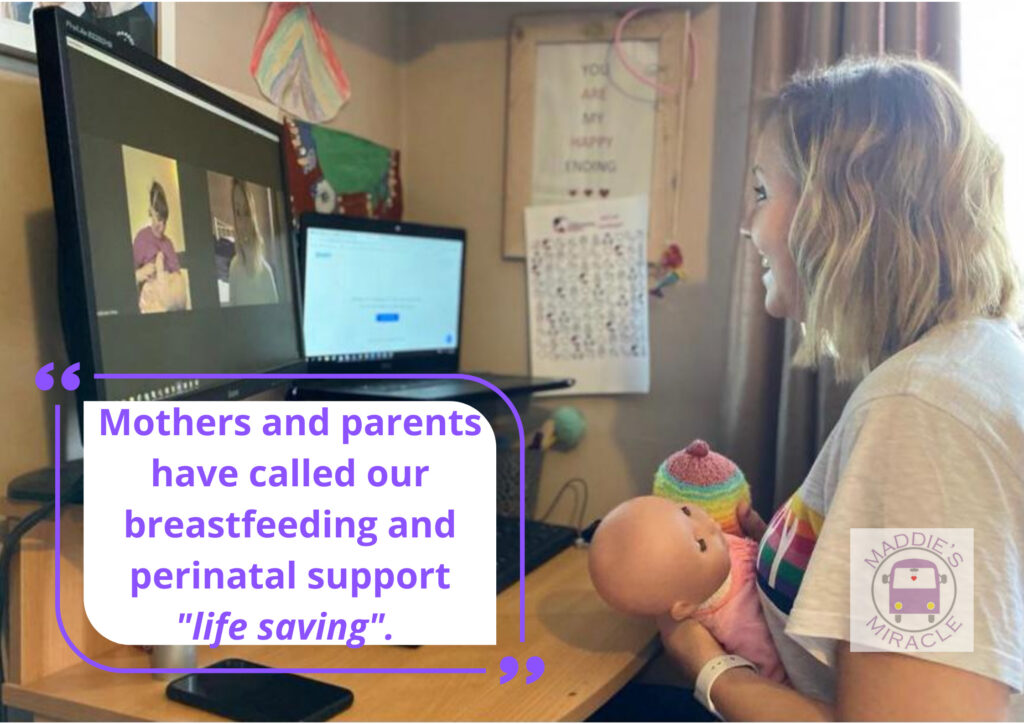 Photo of breastfeeding support ebing done via video chat